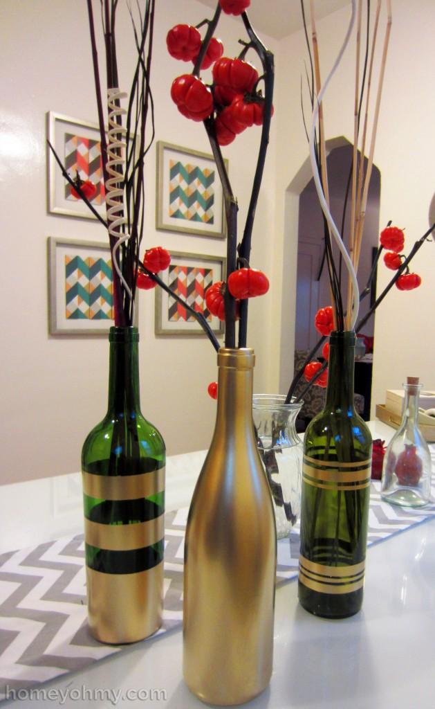 DIY Spray Painted Wine Bottles 1