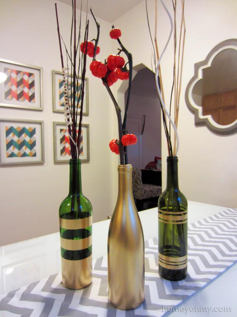 DIY Spray Painted Wine Bottles 3