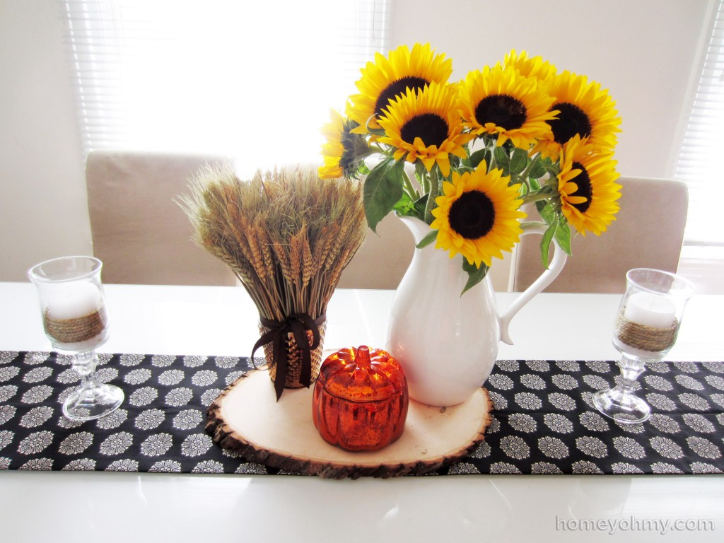 DIY No Sew Table Runner and fall centerpiece