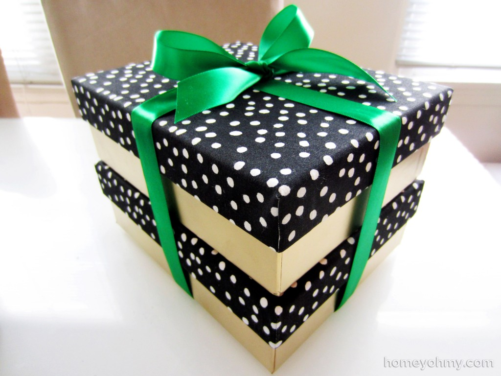 Fabric lid boxes tied with ribbon