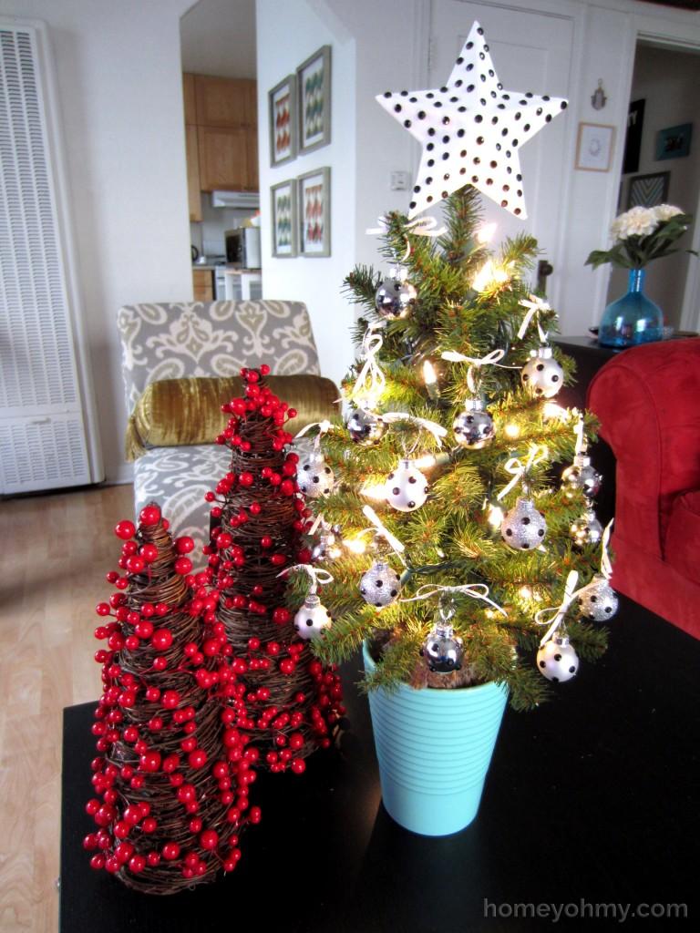Mini Christmas tree lit up