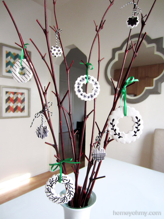 Clay ornaments on branches