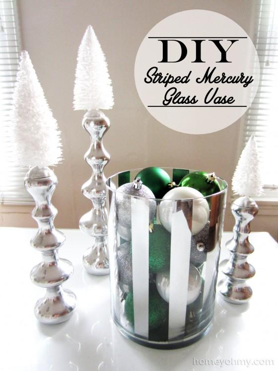 DIY Striped Mercury Glass Vase