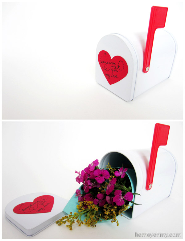 Flowers in a mini mailbox