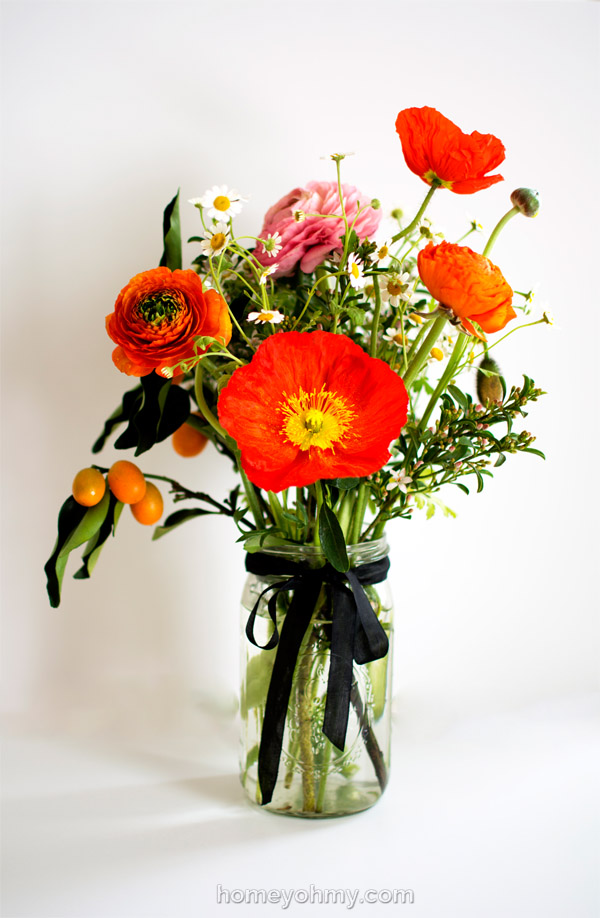 Ranunculus kumquats and poppies