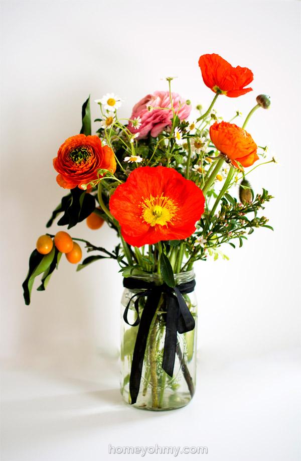 Ranunculus kumquats and poppies