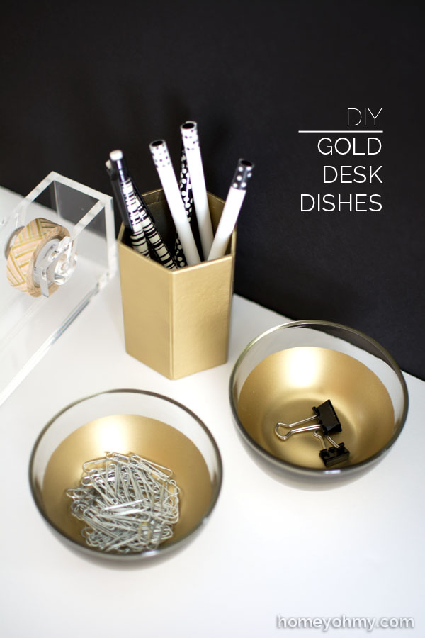 Gold Desk Dishes
