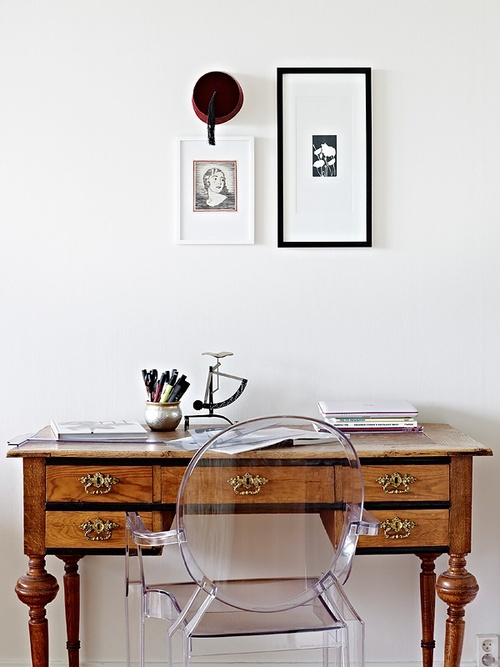 Ghost chair and vintage desk