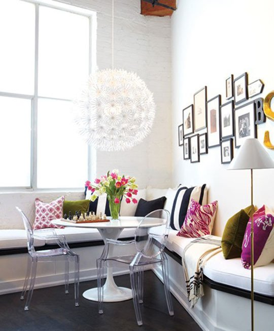 Ghost chairs in modern dining room