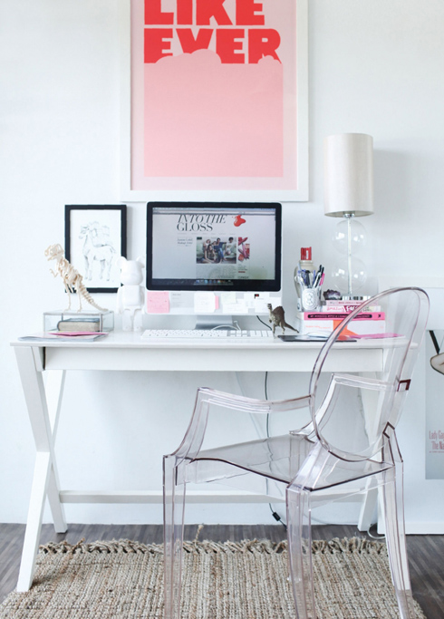 White desk and ghost chair