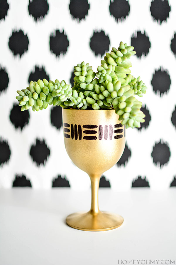 DIY Gold Goblet Planter copy