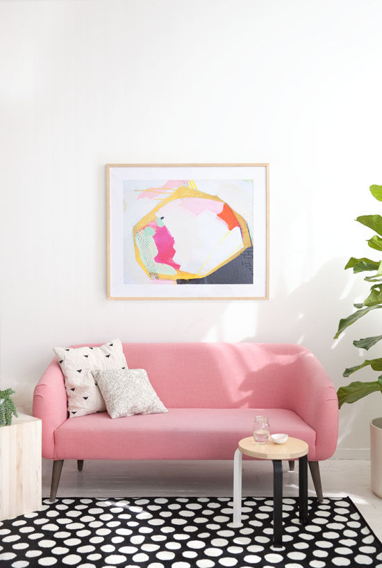 Pastel pink couch