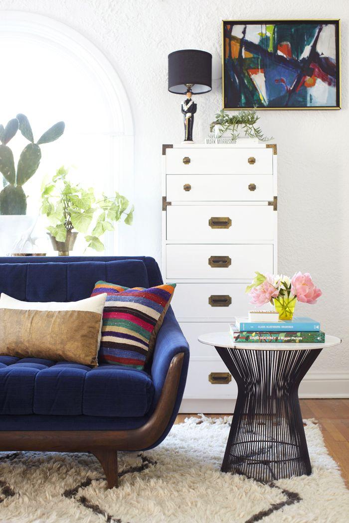 Blue velvet couch- modern mix