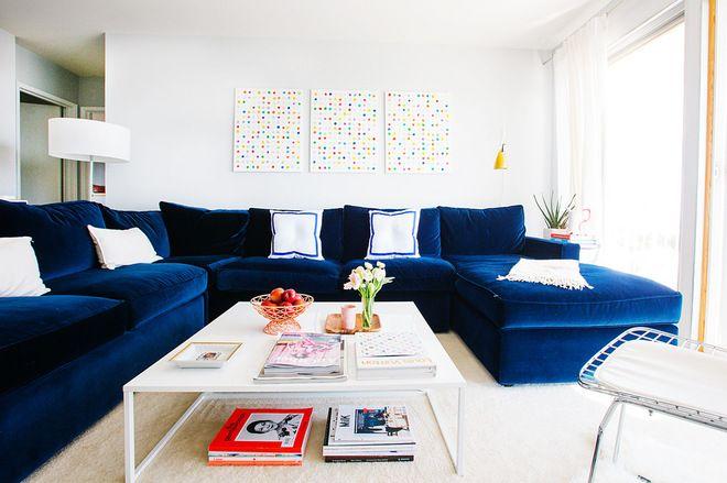 Casual blue velvet couch
