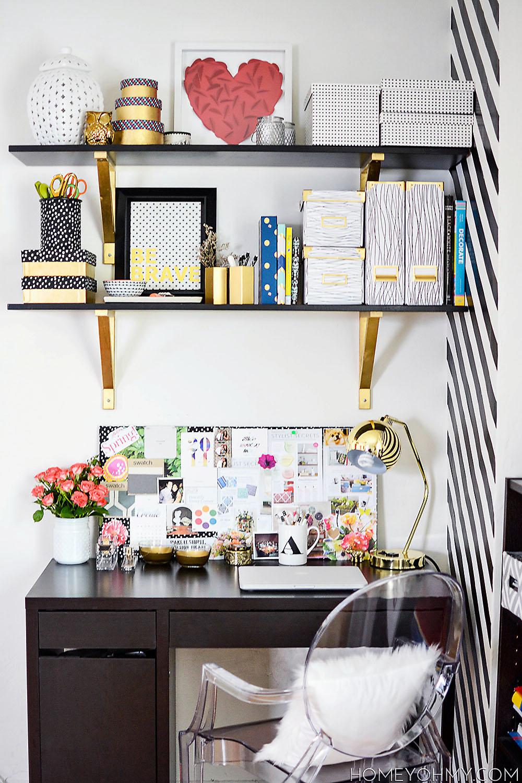 Desk full of DIY decor