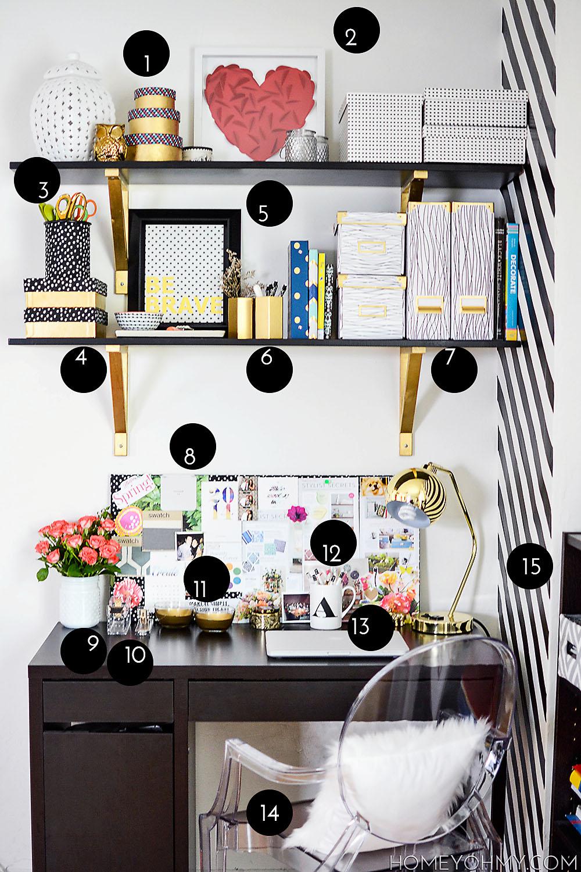 Desk decor DIYs and sources list