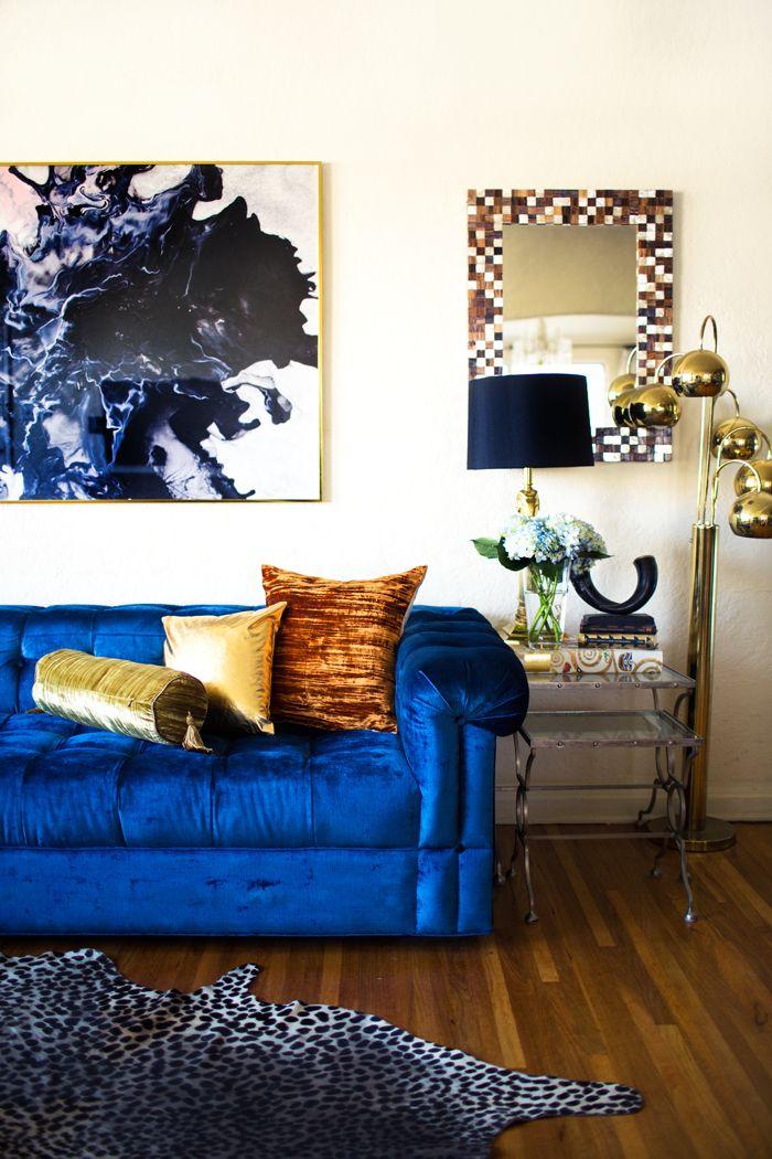 Glam blue velvet couch