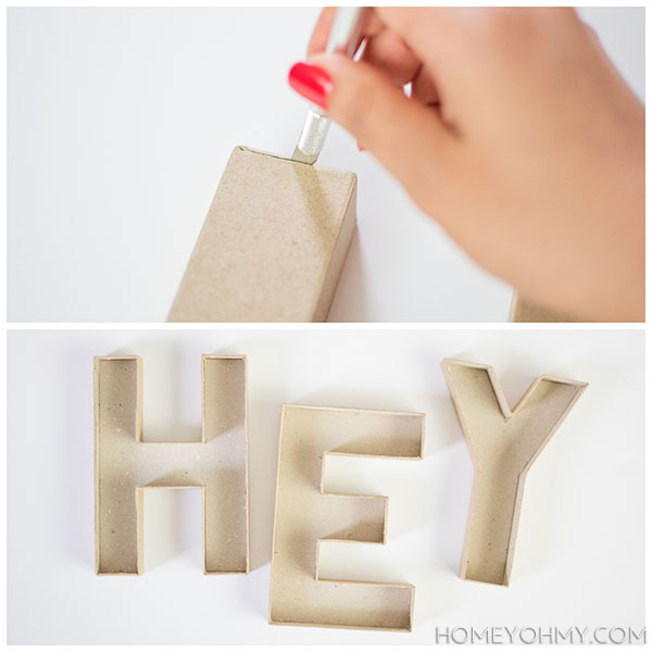 Cutting cardboard letters
