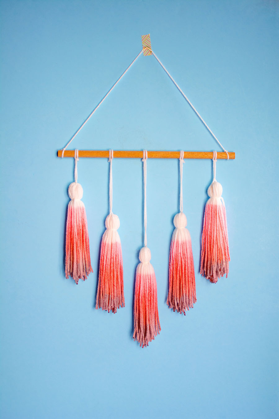 Yarn tassels dyed with Kool Aid!