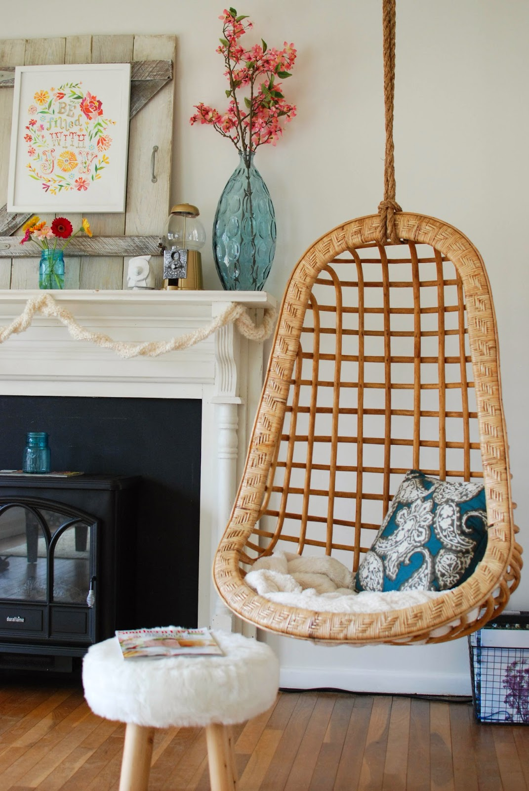 Hanging chair in mid century ranch