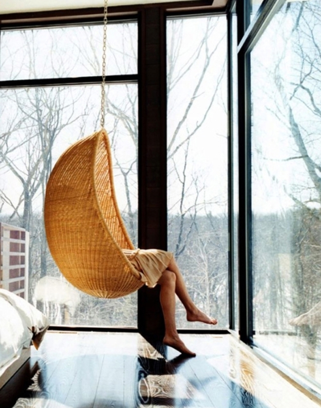 Hanging chair with a view
