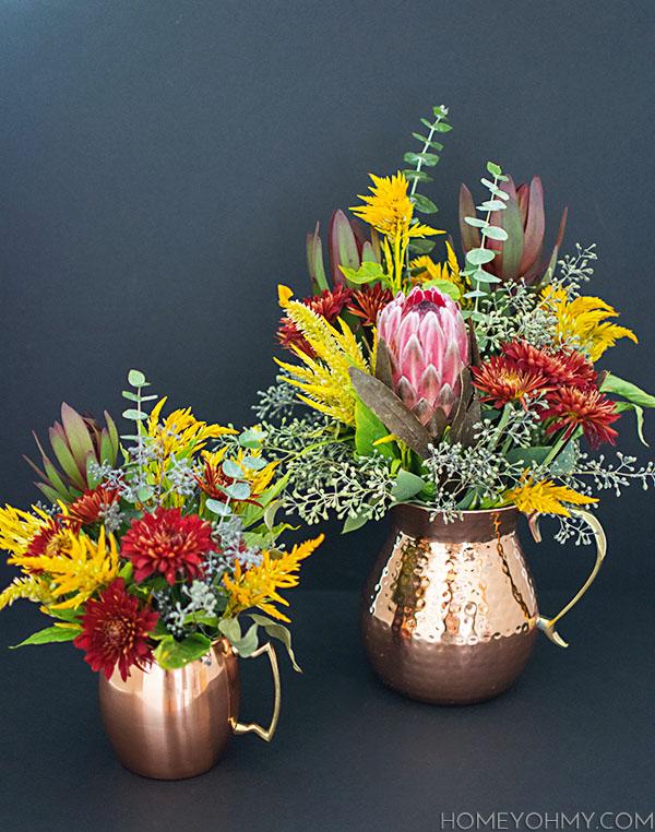 Copper mug and pitcher floral arrangements