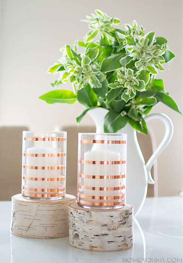 DIY Copper Striped Candle Holders-