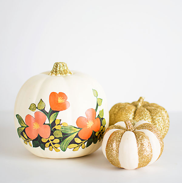 Floral and glitter pumpkins