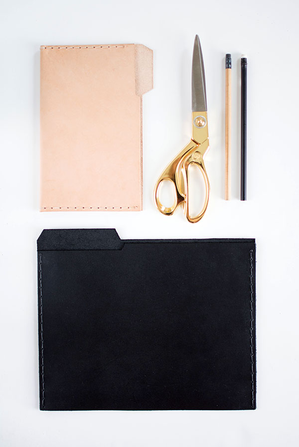 Black and natural leather file folders