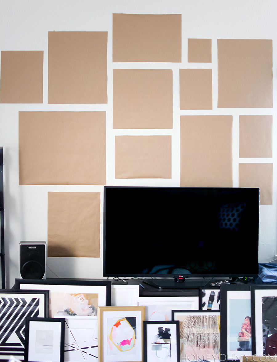 Kraft paper gallery wall planning