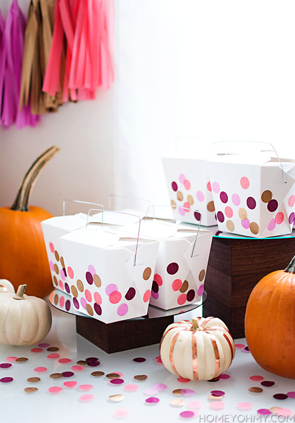 Takeout boxes decorated with confetti