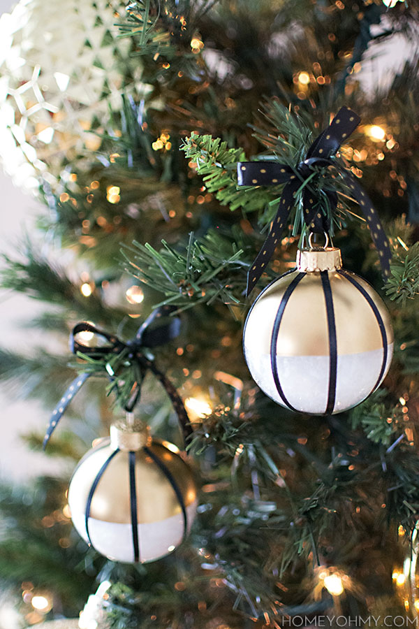 Black white and gold ornaments