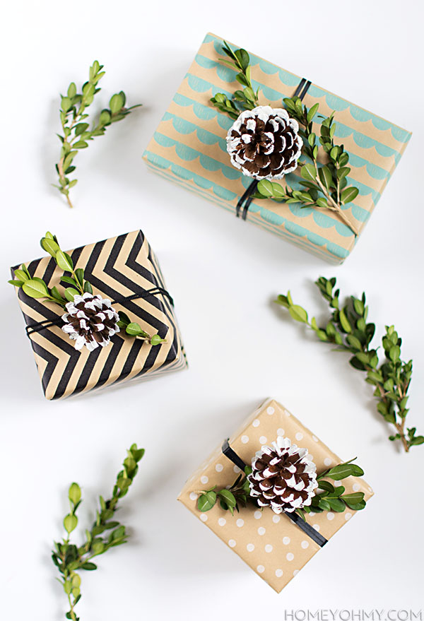 Pine Cone Boxwood Gift Toppers