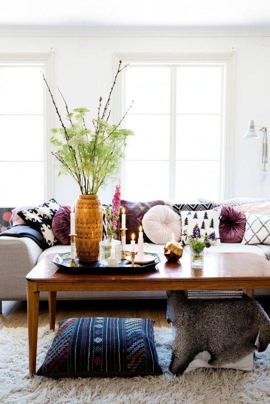 wood coffee table pillow bohemian gray sofa