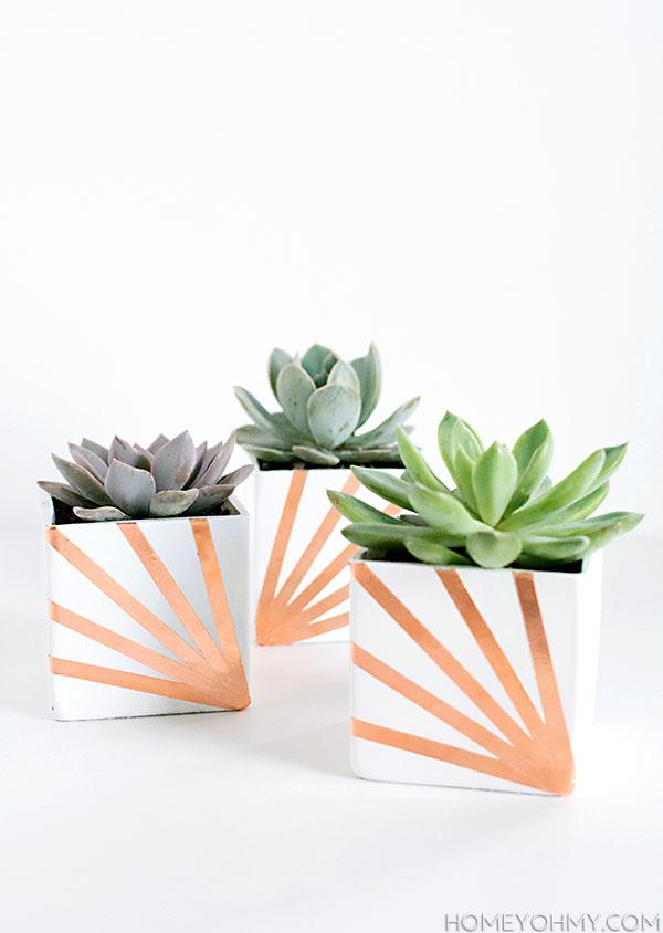 Copper and White Succulent Planters DIY