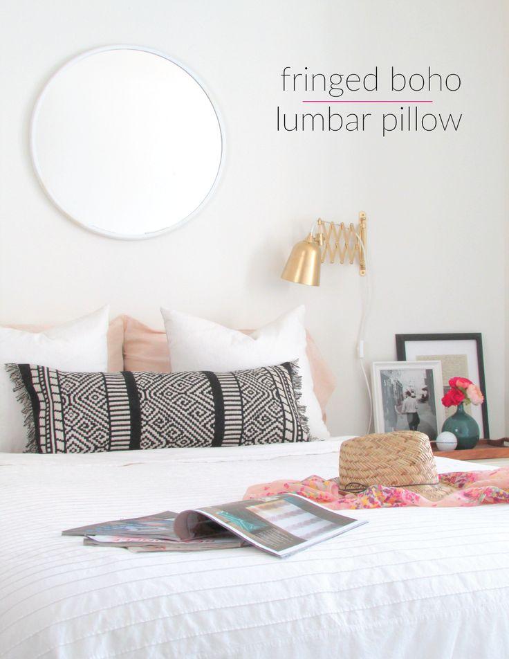 fringed boho lumbar pillow