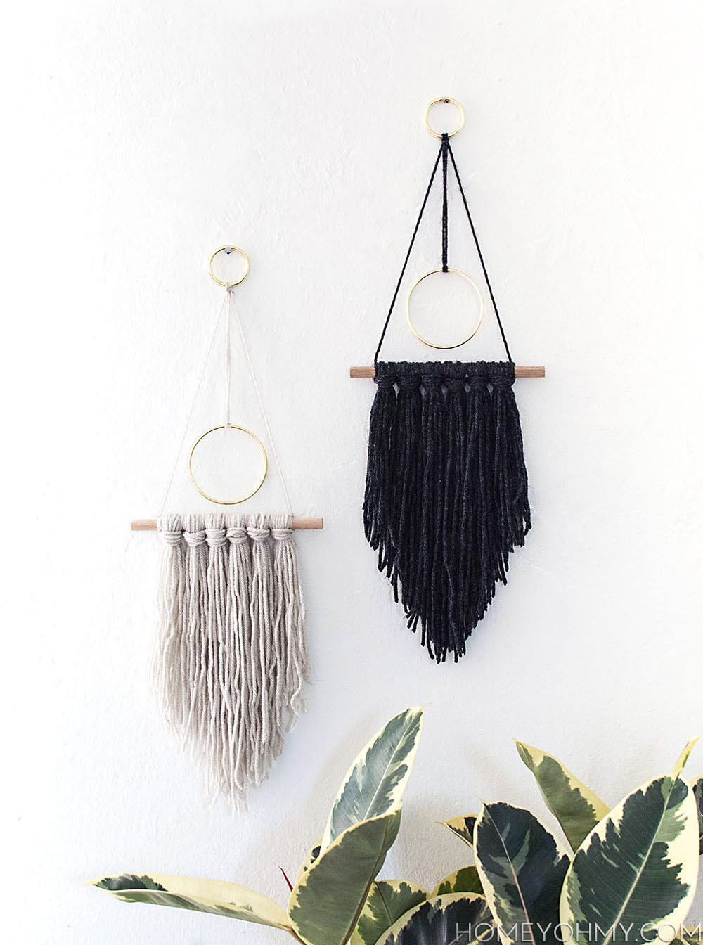 DIY Modern yarn hangings