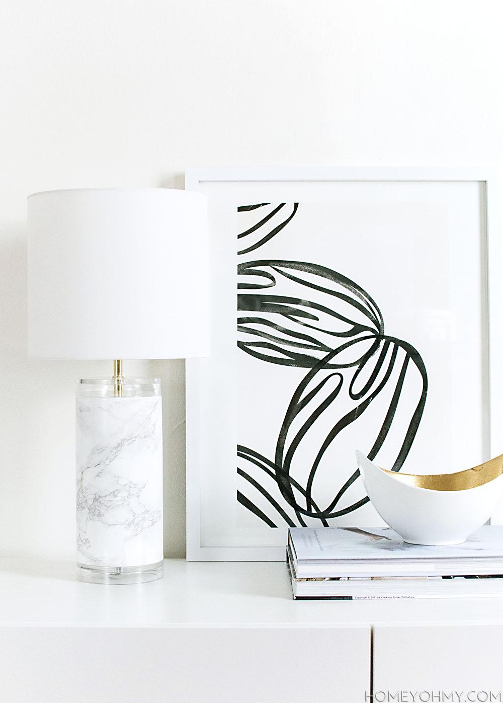 Faux Marble Lamp DIY