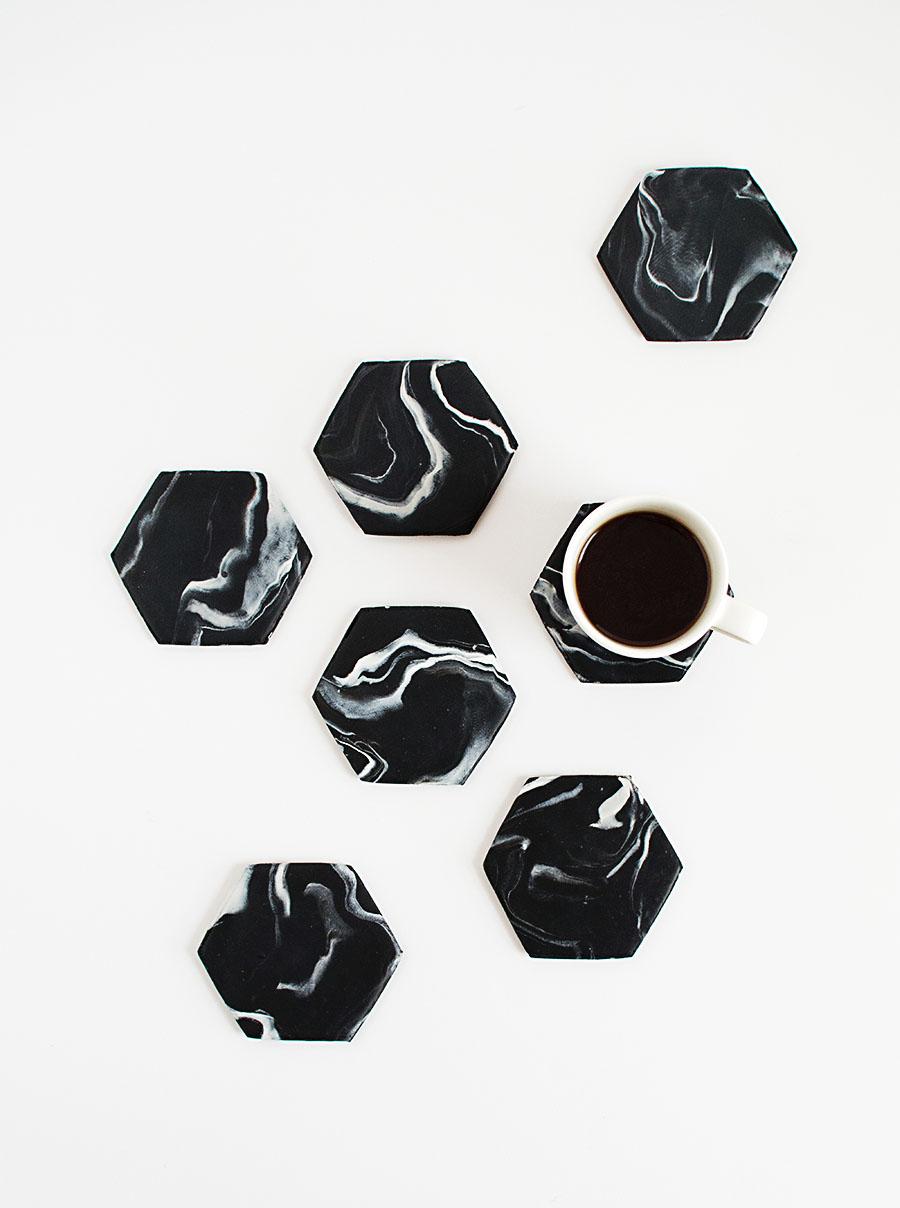 DIY Black Marble Hexagon Coasters