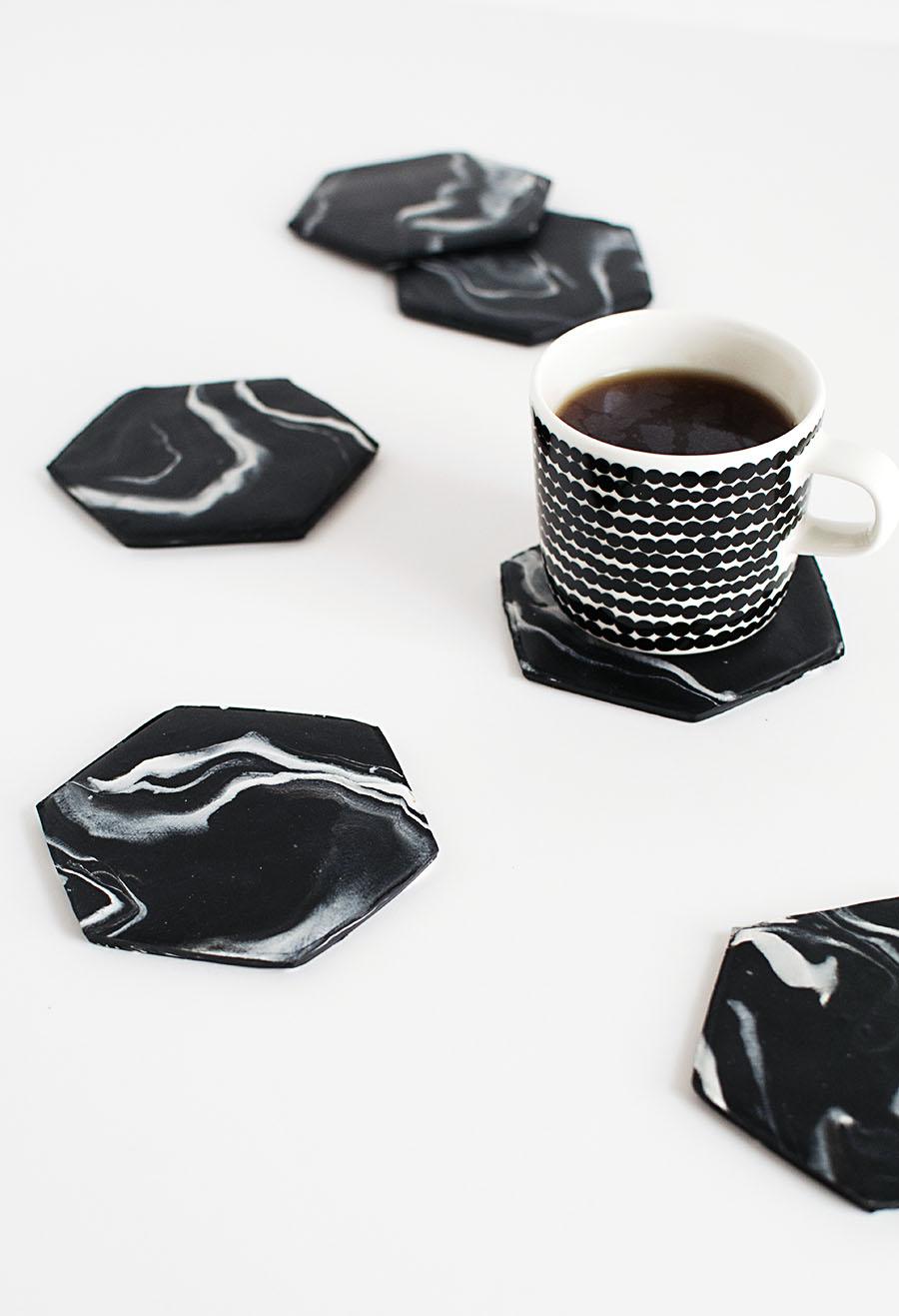Hexagon Marble Coasters DIY