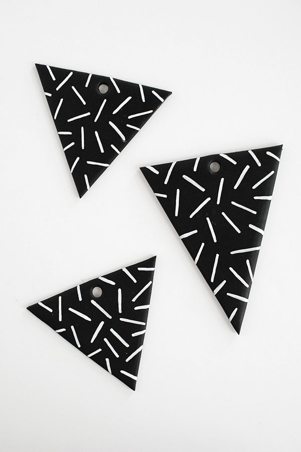 patterned clay triangles