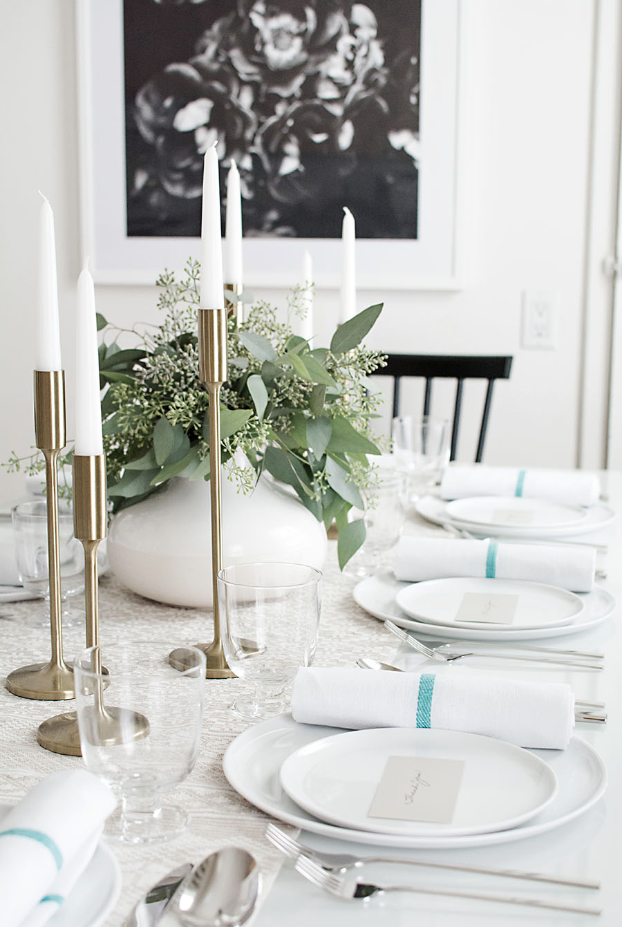 Neutral Thanksgiving table - Homey Oh My!