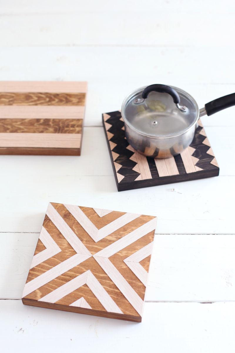 geometric wood trivets