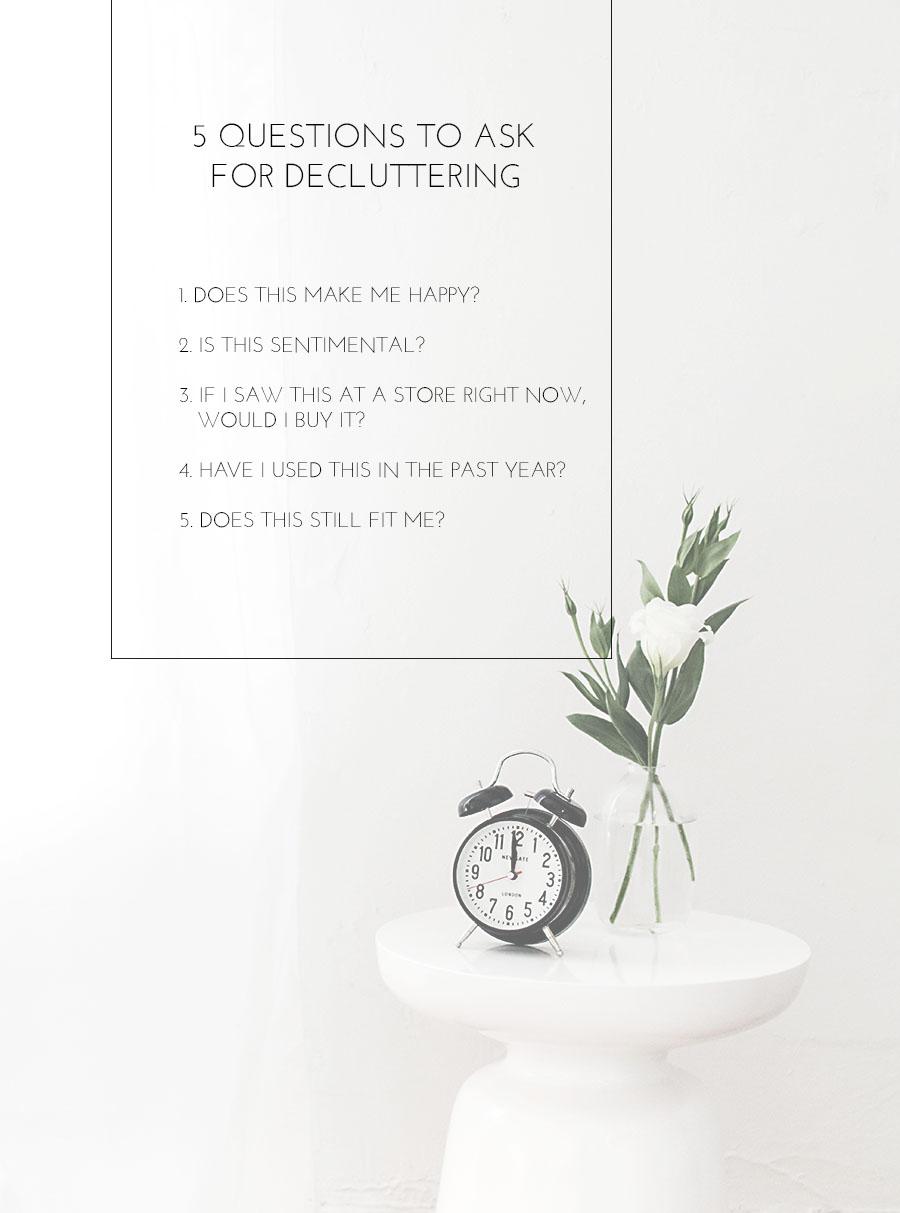 5 decluttering questions