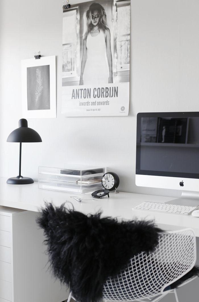 black and white desk