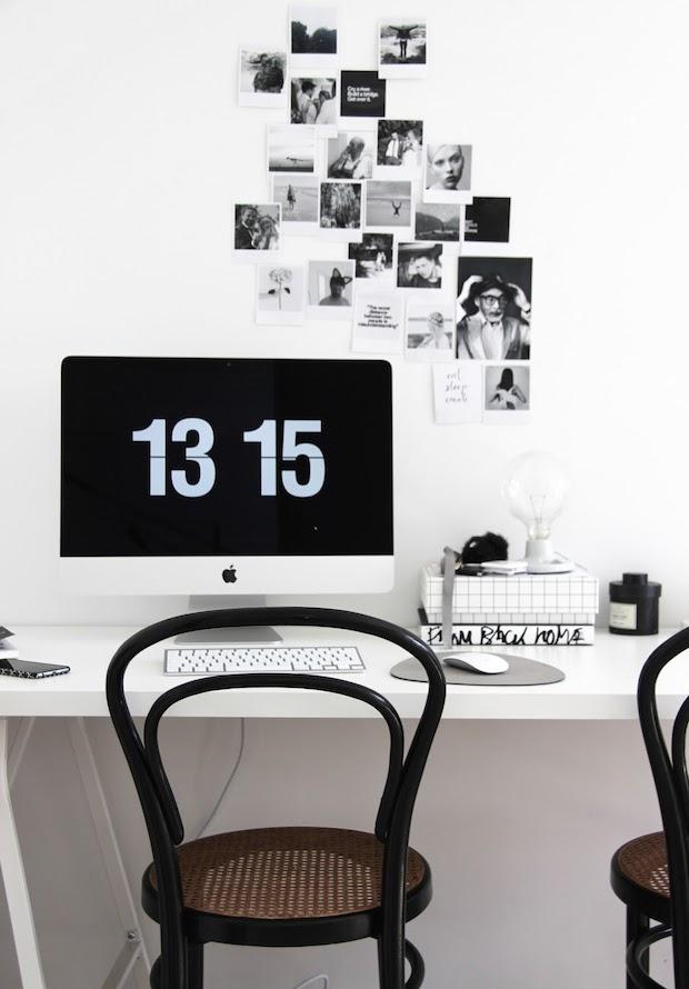 black white desk