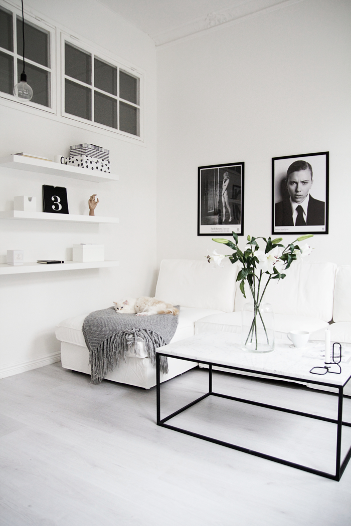 blac and white living room