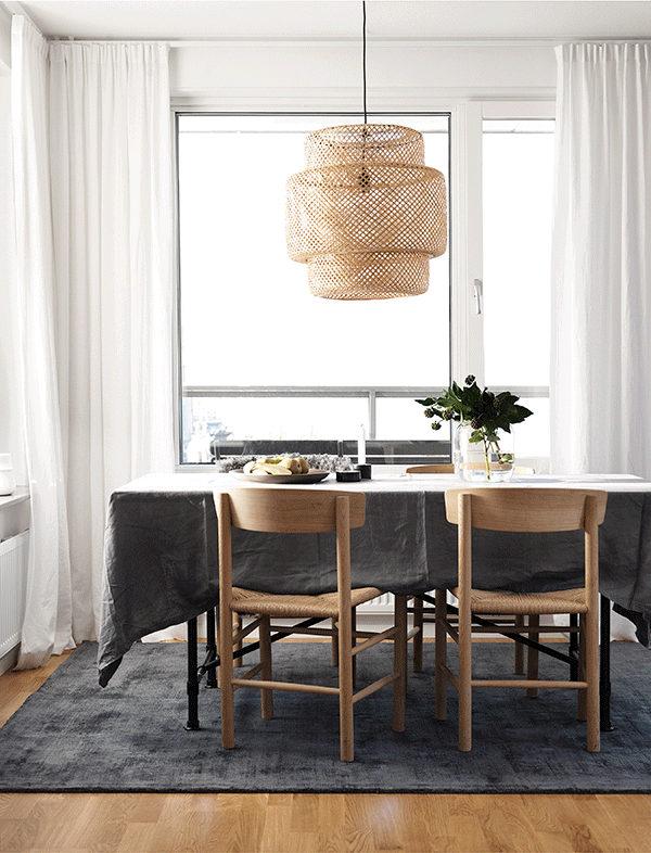 black white wood dining room