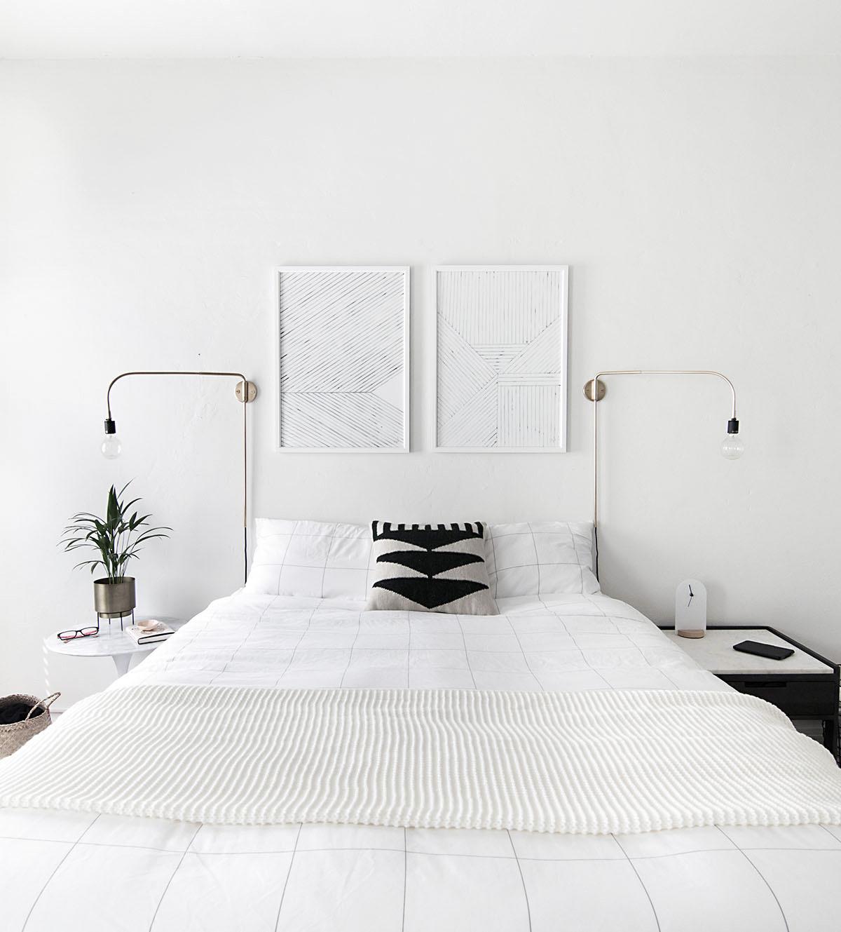 minimal art above bed