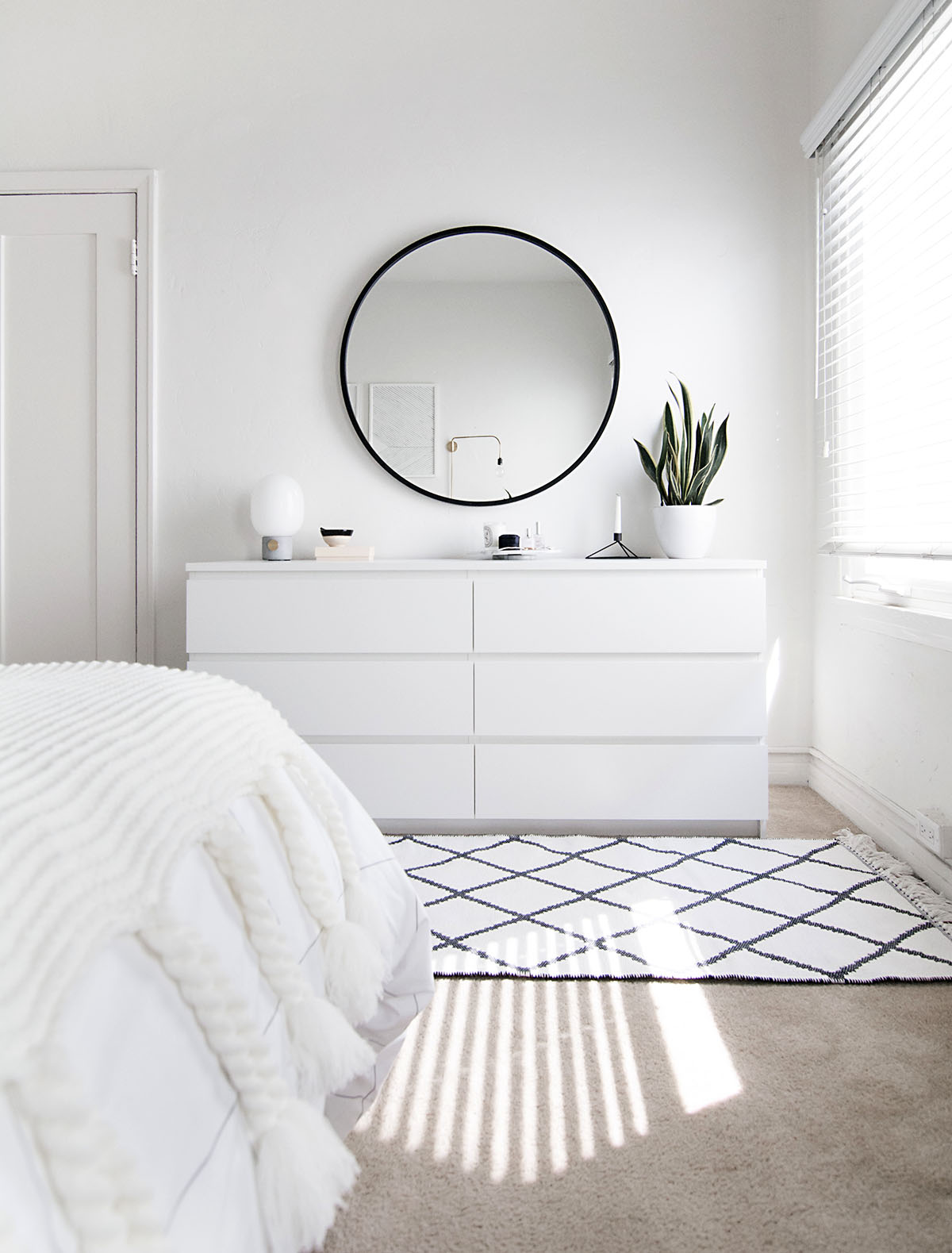 minimal bedroom white dresser